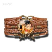 Gustav Klimt The Kiss Bracelet Handmade Infinity Leather Charm Bracelets Klimt Art Jewelry Valentine Gift Lovers Gift gustav klimt drawings