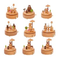 Cartoon Carousel Music Box Wooden Music Box Crafts Game Of Thrones Retro Birthday Gift House Decoration Accessories Present Box