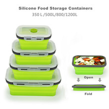 Silicone Food Storage Containers with BPA Free Airtight Plastic Lids Collapsible Meal Prep Container for Kitchen Lunch Bento Box