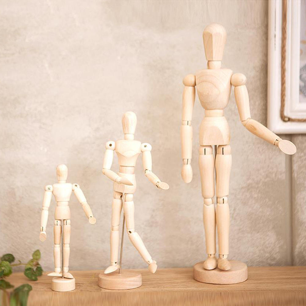 Wooden Joint Model Dolls 4.5/5.5/8 Inches Sketch Model Bauble Human Artist Wooden Manikin Drawing Mannequin Model