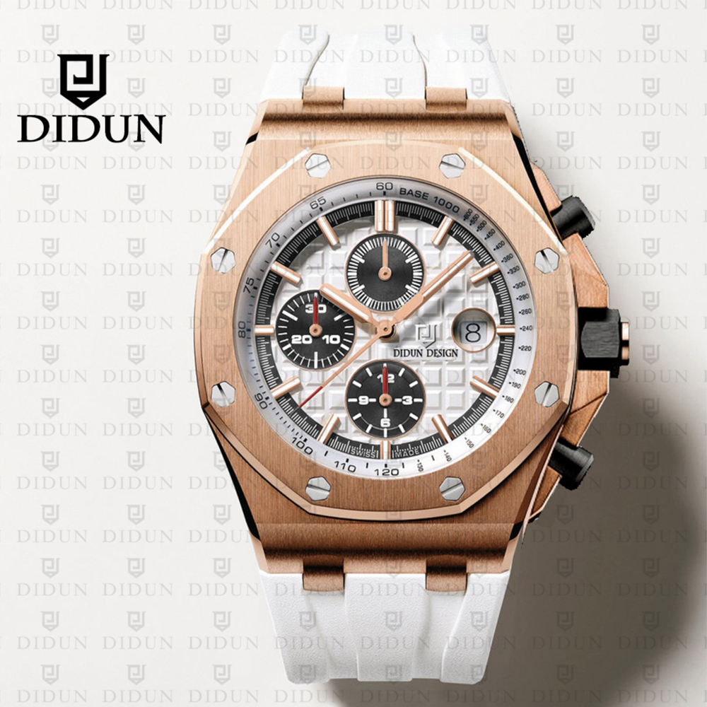 2019 New Watches Men Luxury Brand DIDUN Chronograph Men Sports Watches Waterproof Full Steel Quartz Men Watch didun watches men luxury brand watches mens steel quartz watches men diving sports watch luminous wristwatch waterproof
