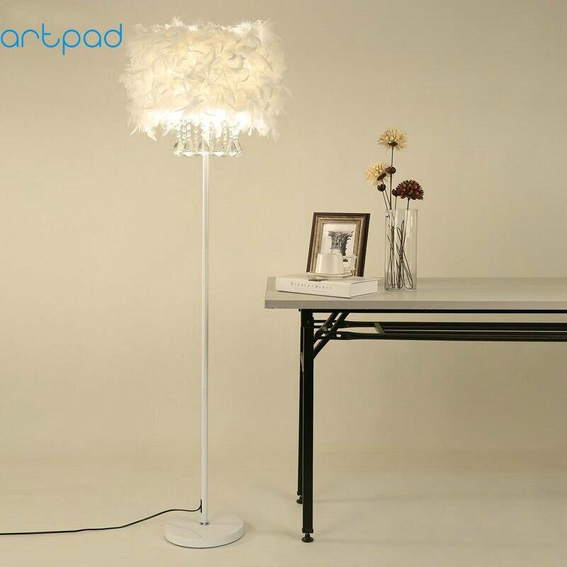 Modern White Crystal Feather Lampshade E27 E26 BASE Led Floor Light Night Lamp for bedroom Bedside