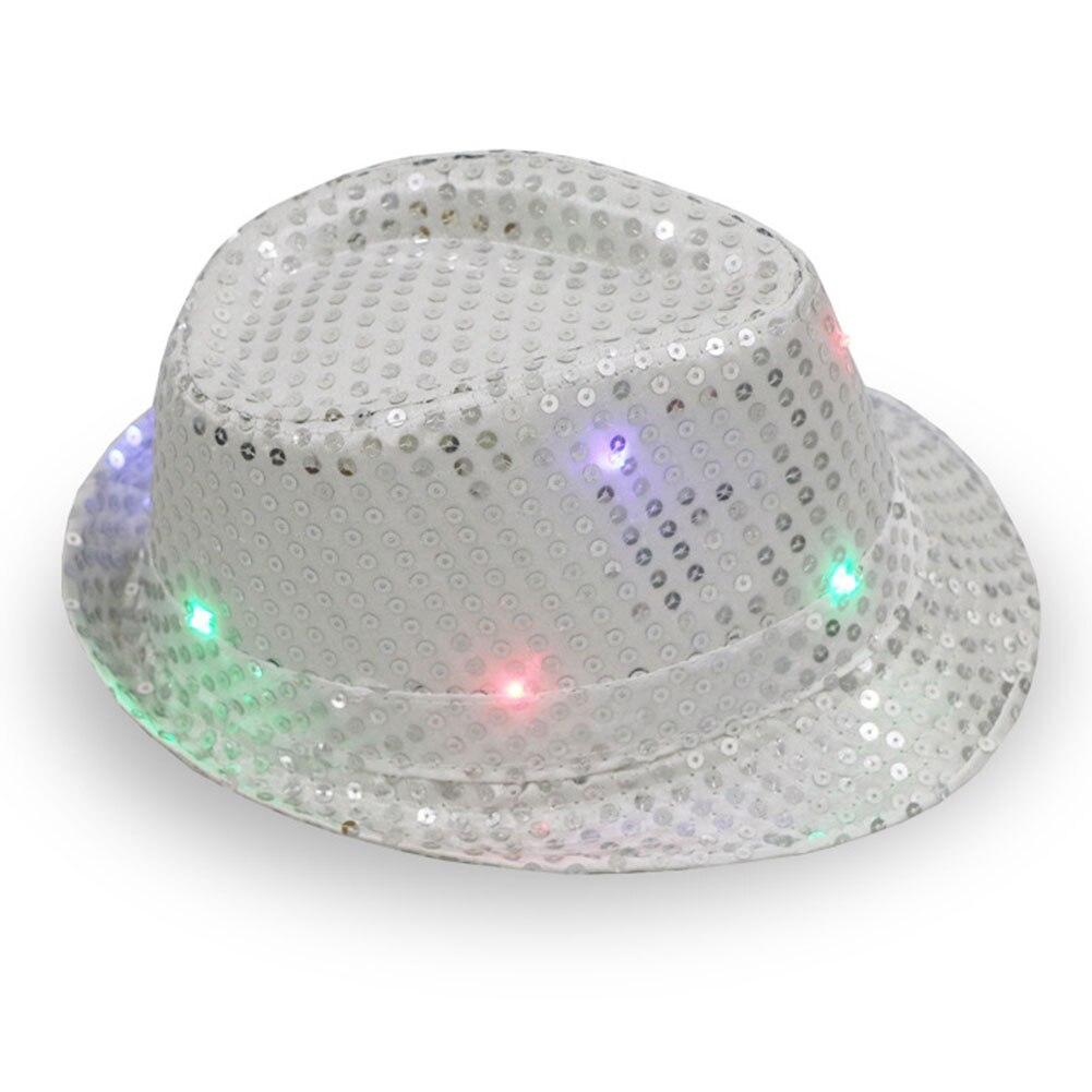 Up Trilby Fedora Jazz Cowboy Cap Falshing Sequin Hat Light