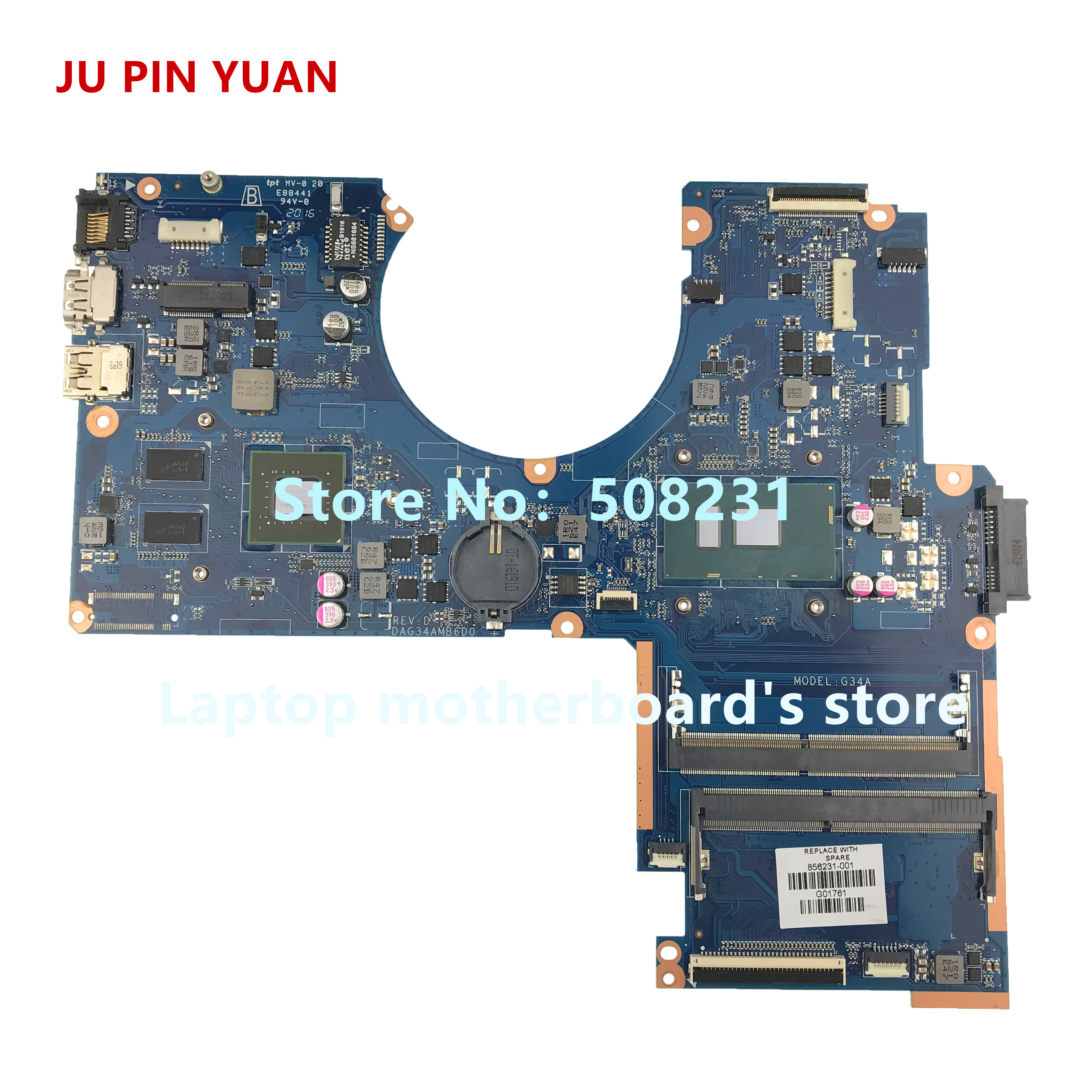 JU PIN YUAN 856231 601 for HP Pavilion 15 AU 15T AU Notebook Motherboard DAG34AMB6D0 Mainboard