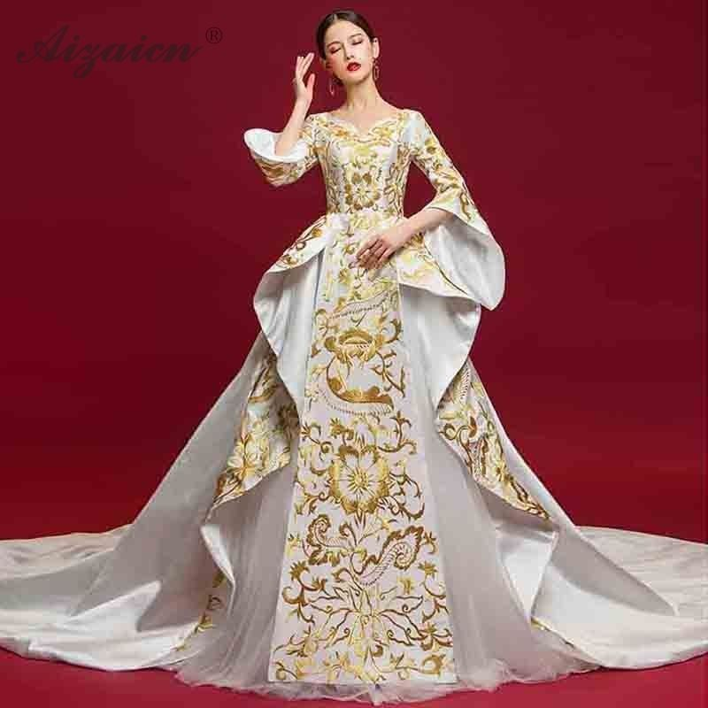 Luxury Evening Dress Flowers Embroidery Ball Gown Chinese Wedding Qipao Party Dresses China Plus Size Women Clothing Qi Pao