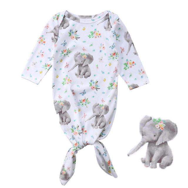 Hot Sale Newborn Baby Photo Props Boy Girls Floral Blanket Long Sleeve Elephant Sleeping Bag Swaddle Wrap Outfits 3-6 Monthes