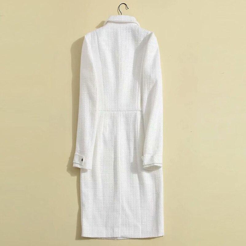 Cranté Piste Travail Col Princesse Élégante Blanc Bouton 2018 De Créateurs Tweed Robe Mode D'affaires D'hiver Bureau arwOaq