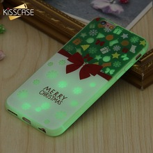KISSCASE Christmas Patterned Case For iPhone 6s 6 7 8 Plus Luminous Soft Silicone Back Cases X Xs New Year Conque