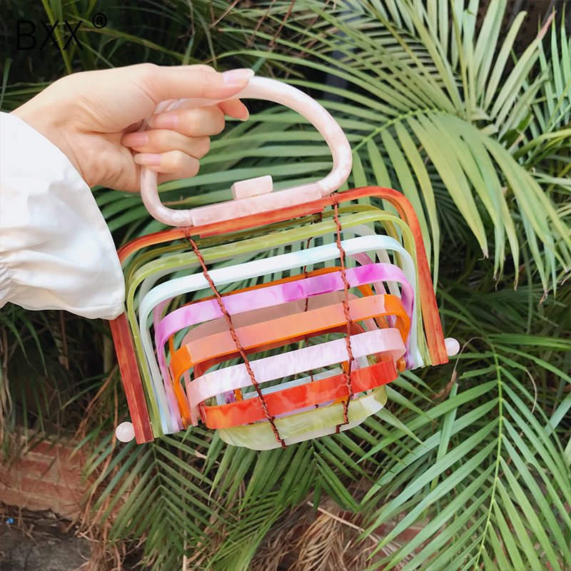 BXX 2019 Summer Woman Colorful Single Handle Specicl Design Acrylic Bird Cage Bamboo Basket Hollow