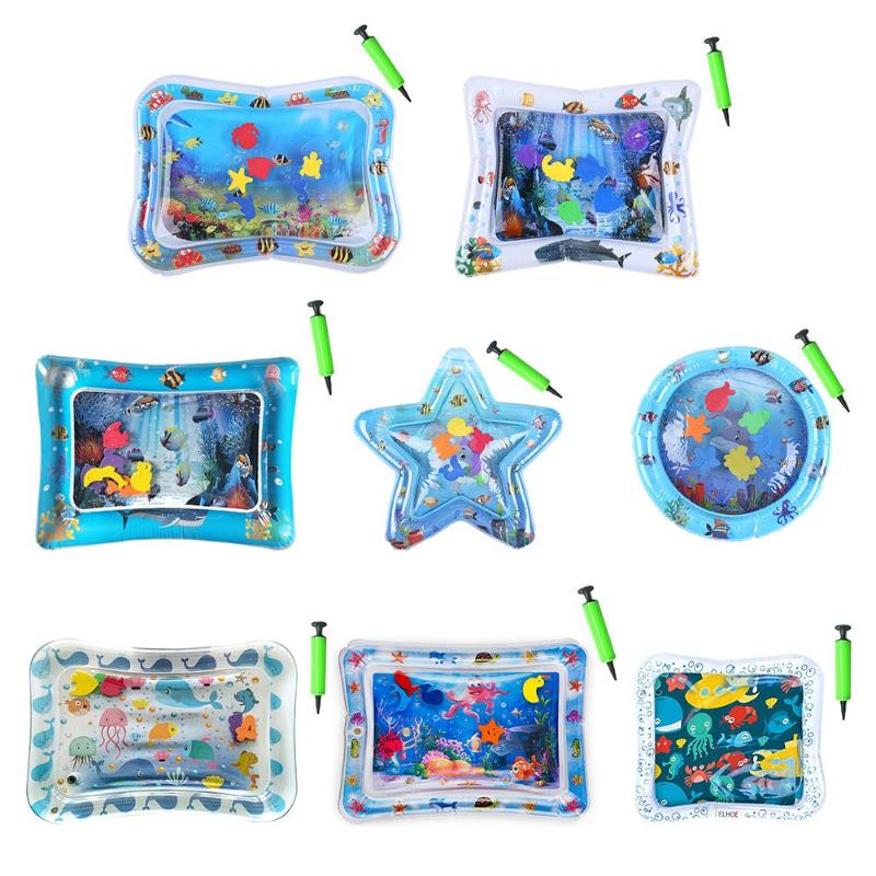 Inflatable Infants Tummy Time Activity Mat Baby Play Water Mat Toys Summer Swimming Beach Pool Gyms Mat With Pump