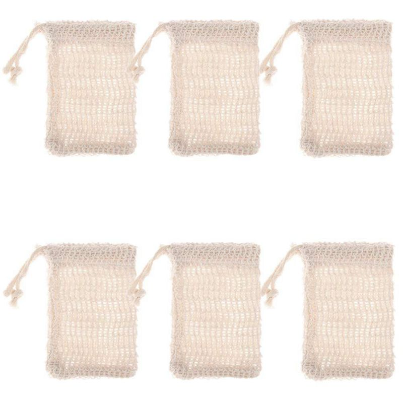 Bathroom Hardware Liquid Soap Dispensers 6 Pcs Natural Exfoliating Soap Bags Handmade Sisal Soap Bags Natural Sisal Soap Saver Pouch Holder Bath Soap Holder Bags Cheap Sales