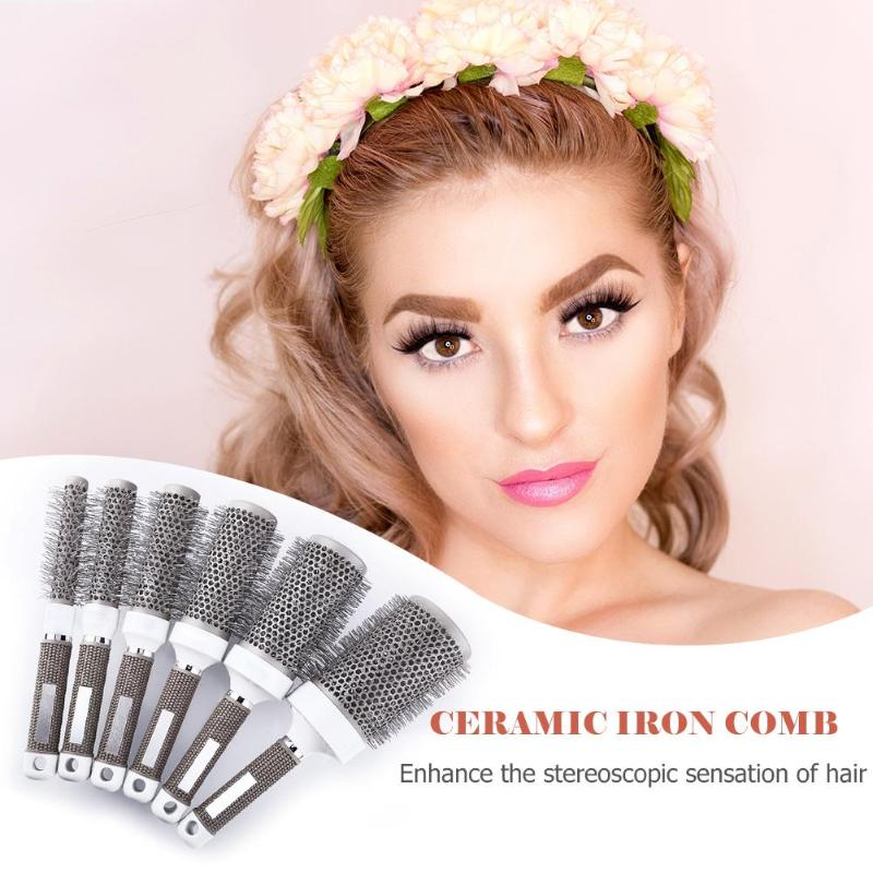 1set Professional Hair Combs Hair Dressing Brush High Temperature Resistant Ceramic Iron Round Comb Salon Hair Care Styling Tool