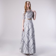 Vivian's Bridal Fashion Geometric Stripe Cut-out Prom Dress Elegant Gold Leaf Sashes Sliver Party Dress Lady A-line Maxi Dress