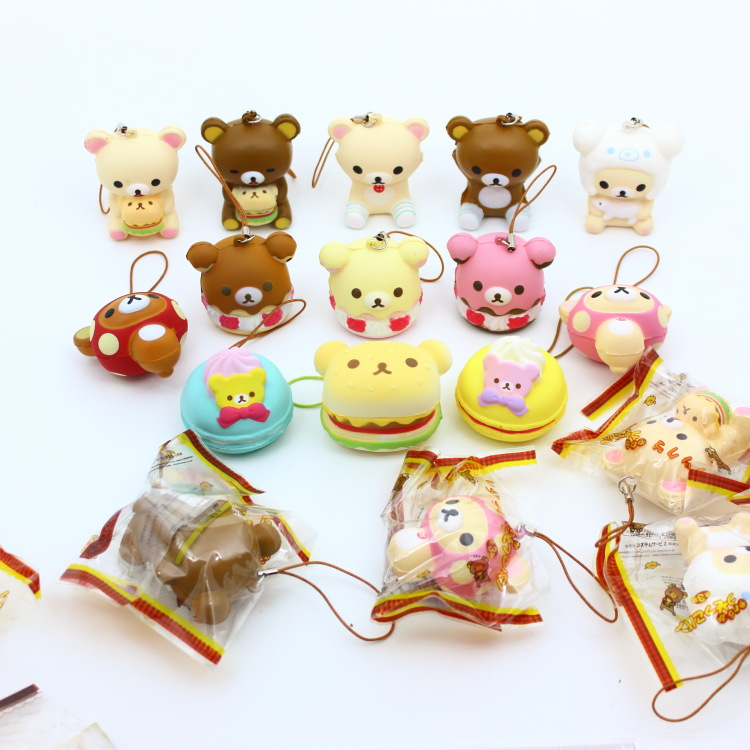 Original Packing Soft Kawaii Squishy MIX Rilakkuma Queeze Bun Toy For Cell Phone San-X Squishies Bread