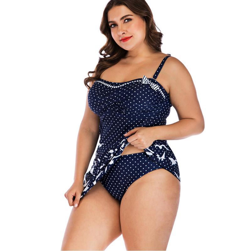 2019 Verão Plus Size Biquíni Set Swimwear Estilo Gaivota Padrão Europeu e Americano Tamanho Grande Saia Conservador Tipo S-5XL