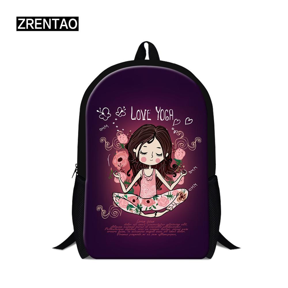 ①  Йога 3D-печать детей школьные сумки подростков девочек большой школьный рюкзак водонепроницаемый сум ★