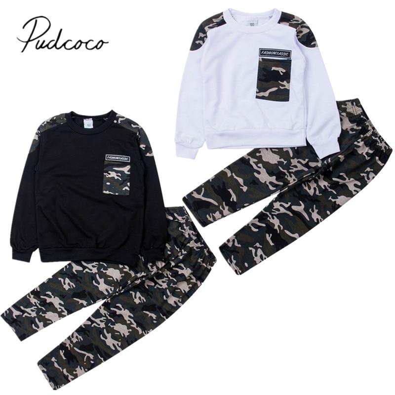 Комплект одежды для маленьких мальчиков, комплект одежды из 2 предметов: пуловер с карманами и камуфляжные штаны, 2019