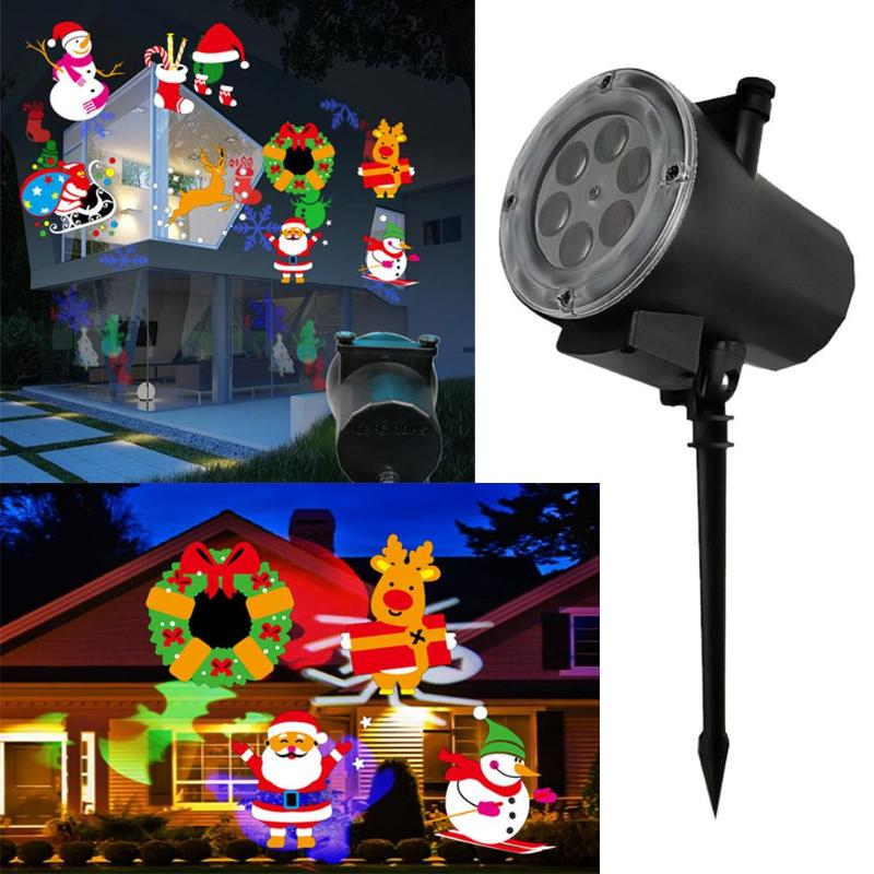 12W High Bright Full Colorful LED Christmas Lights Outdoor Waterproof Snowflakes Festival Projection Lamp Lawn Stage Laser Lamps