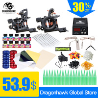 Professional Tattoo Kit 2 Machine Gun 10 Color Inks Power Supply Complete Tattoo Kits