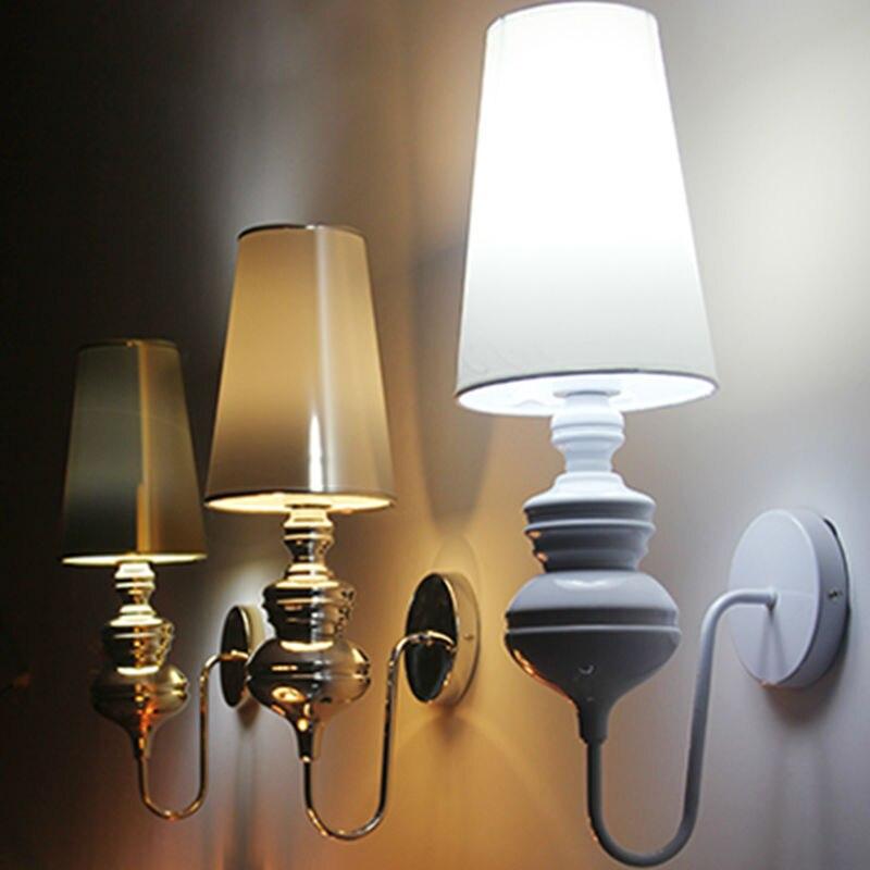 Современные Настенные светильники в европейском стиле для спальни, освещение для чтения, Коридорная лампа E27, держатель, серебристый/золото...