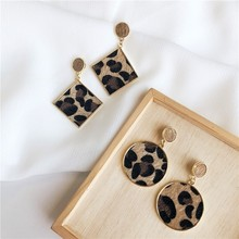 Classic Alloy Plush Leopard Earrings For Girl Animal Print Round Triangle Punk Pendientes Za Oorbellen