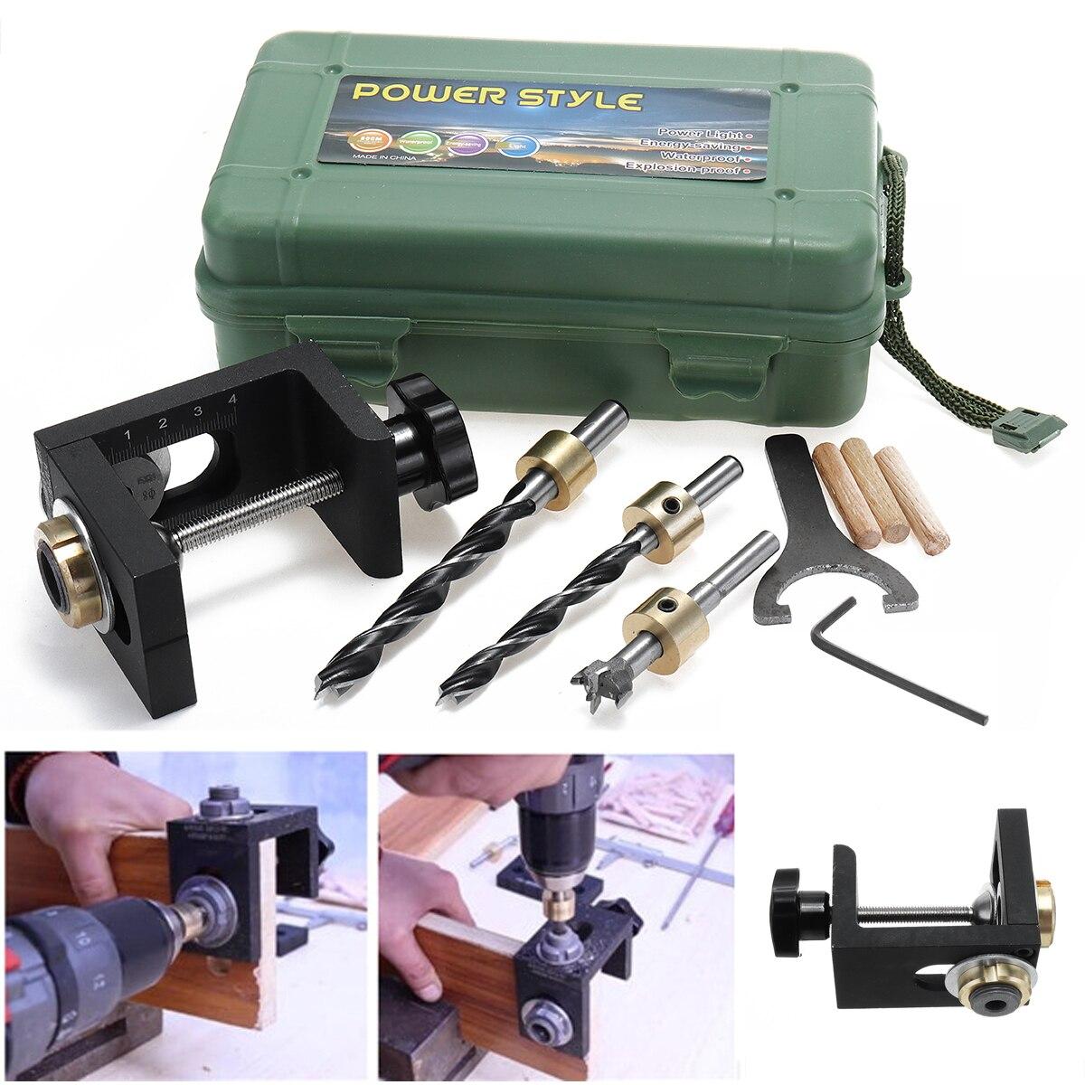 Trabajo de la guía de broca conjunto de madera bolsillo agujero localizar un Jig + Kit de paso de un poco de madera conjunto de herramientas