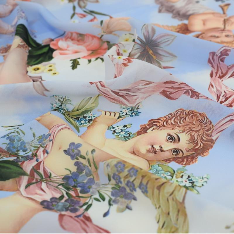 2018 NEW fashion Angel wings digital painting chiffon fabric for summer dress shirt telas por metros tissu au metre vestidos DIY in Fabric from Home Garden