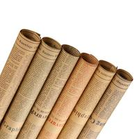 New Wrapping Paper Set Brown Kraft Paper 6 Rolls Art Old English Newspaper For Bouquet Packaging