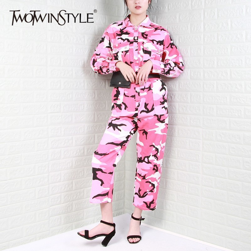 TWOTWINSTYLE Print Camouflage Jumpsuits For Women Lapel Long Sleeve High Waist Trousers Female With Belt 2019