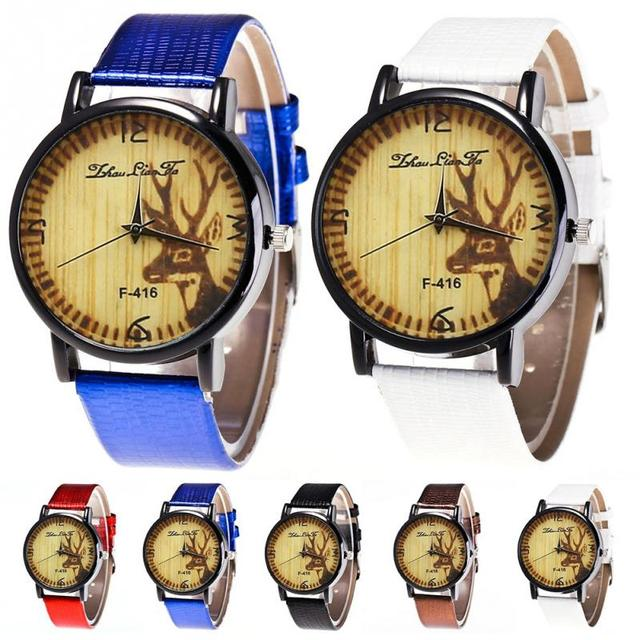 Zhoulianfa Fashionable Elk Pattern PU Leather Strap Quartz Watch Wristwatch