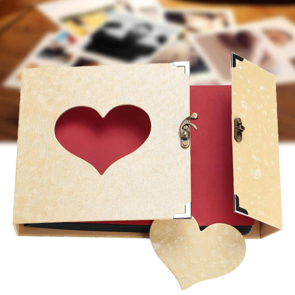 10Inch Wedding Flyer Love Heart Gift Box Insert Album Self-adhesive Black Pages DIY Scrapbook  Out Memory Book Vintage