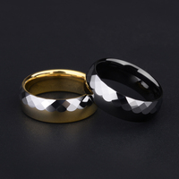 2019 Casual 7mm Width Half High Polished Half Prism Design Tungsten Engagement Ring for Women Men Silver&Gold/ Silver&Black