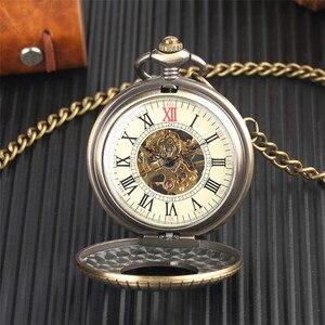 Image 2 - Conception en bois de luxe montre de poche mécanique Vintage exquis pendentif montre creux main remontage montre cadeaux chaîne en Bronze avec