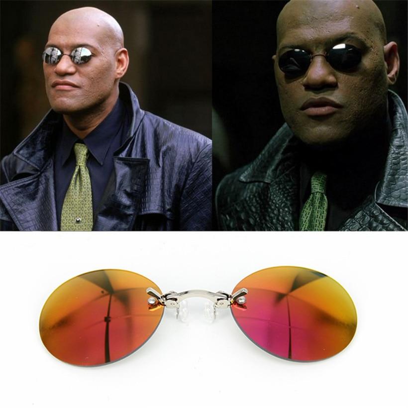 Clip On Nose Glasses Round Rimless Matrix Morpheus Sunglasses Mini Frameless Vintage Men Eyeglasses UV400