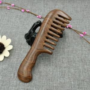 Image 5 - خشبي صالون الخصر العطر مكافحة ساكنة طويلة واسعة الأسنان detanghome الطبيعية خشب الصندل مشط تدليك أدوات الشعر النساء