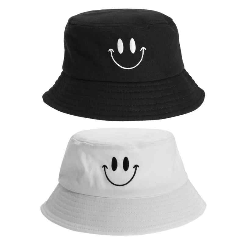 New Fashion Casual Fisherman Hat Hunting Fishing Bucket Hat Cap Lovely Smile Face Sun Protection Cotton Fisherman Hat Men