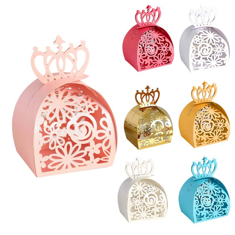 Rose Crown Candy Boxes Infrared Ray Hollow Chocolate Carton Pearl Paper Organizer Suitable For Wedding Decoration