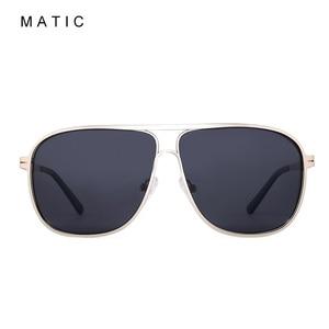 Image 2 - MATIC High Polarized Lenses Vintage Aviation Sunglasses For Mens Drivers Square Gold Metal Frame Sun Glasses Male uv400 Eyewear