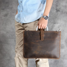 Vintage Crazy Horse Leather Men Briefcases Business Bag tote Genuine Leather 14