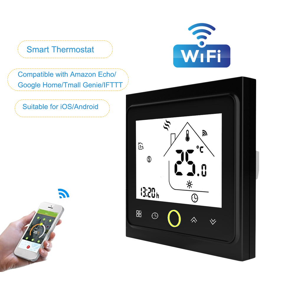 LCD Digital WiFi Smart Temperature Controller Thermostat for Gas Boiler Water Touchscreen Weekly Programmable Energy Saving