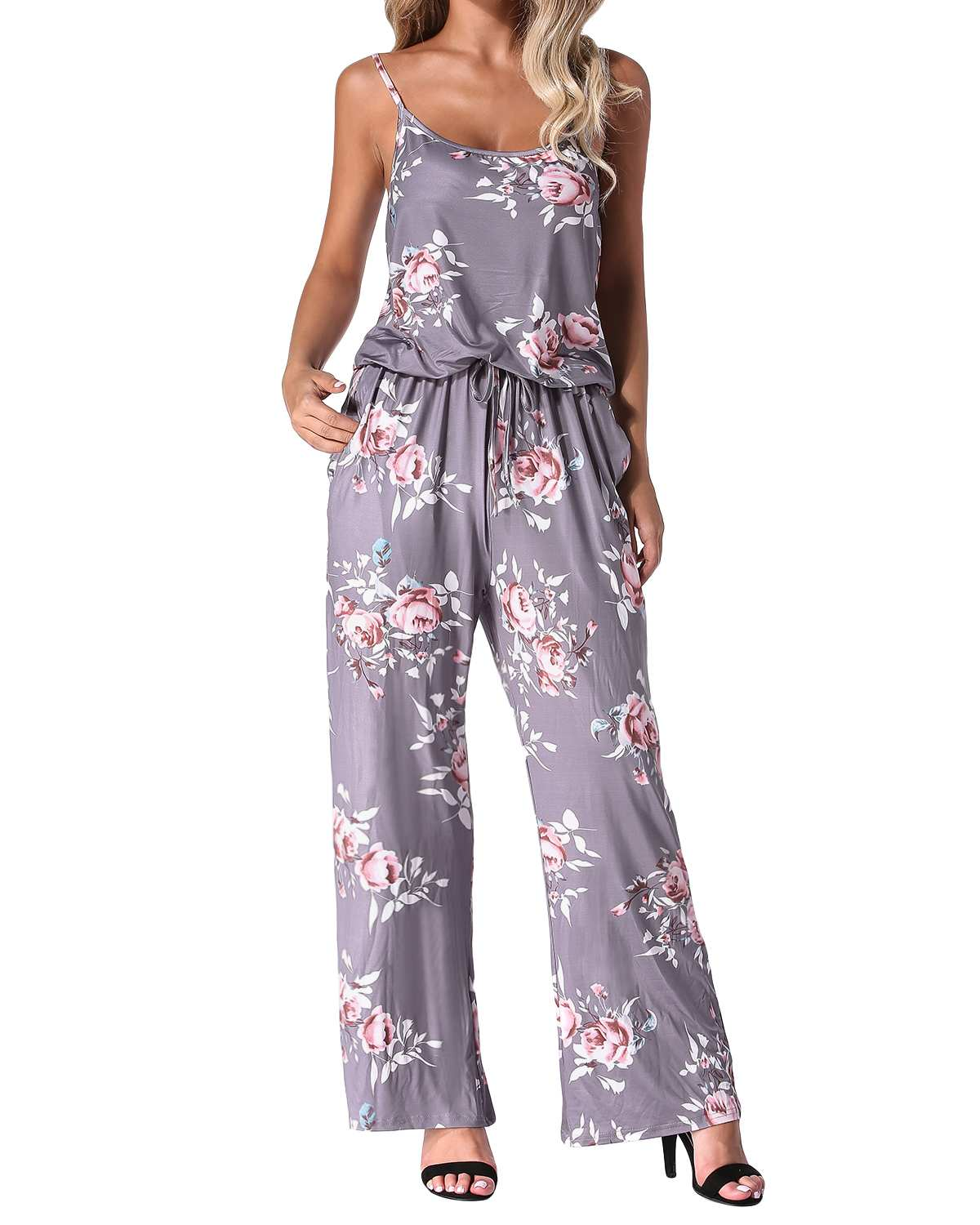 Women Floral Print  Rompers Jumpsuits 2019 Summer Casual Straight Sexy Backless Long Wide Leg Pants Playsuits Pockets Bodysuits
