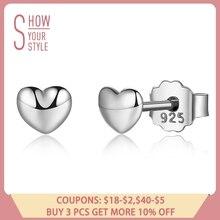 100% 925 Sterling Silver Petite Plain Hearts Stud Earrings For Women Silver Small Earrings Fine Jewelry Brincos Pas441