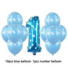 1 2 3 4 5 6 7 8 9 years old happy birthday balloon Kids 1st Birthday ballon Number Foil Balloon pink girl blue boy party globos