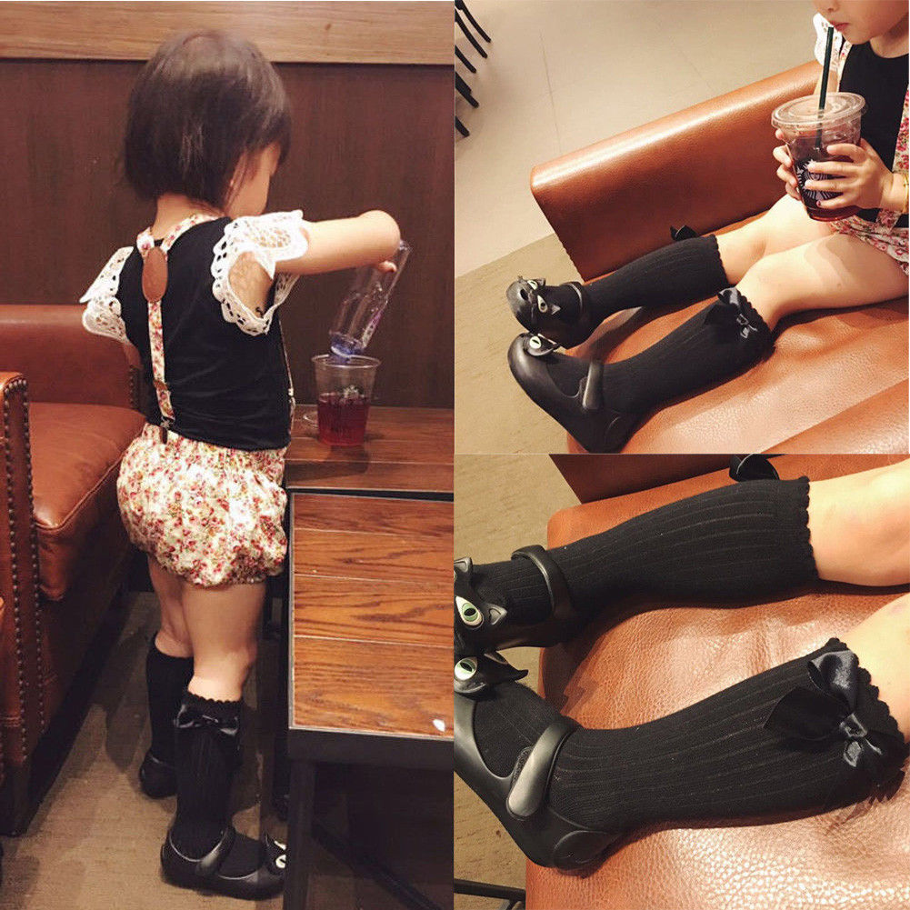 Cute Toddler Kids Baby Girl Solid Color Bowknot Knee High Socks For 0-4Y Girls