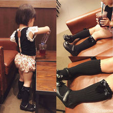 Cute Toddler Kids Baby Girl Solid Color Bowknot Knee High So