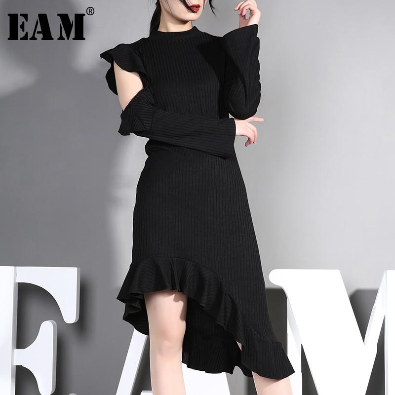 [EAM] 2019 nouveau printemps été col montant à manches longues noir irrégulière ourlet tricot volants robe femmes mode marée JO2
