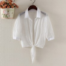 Summer Blouse Women Short Kimono Cardigan Solid Half Sleeve Thin Shirt Outerwear Tops Loose Blusas Mujer
