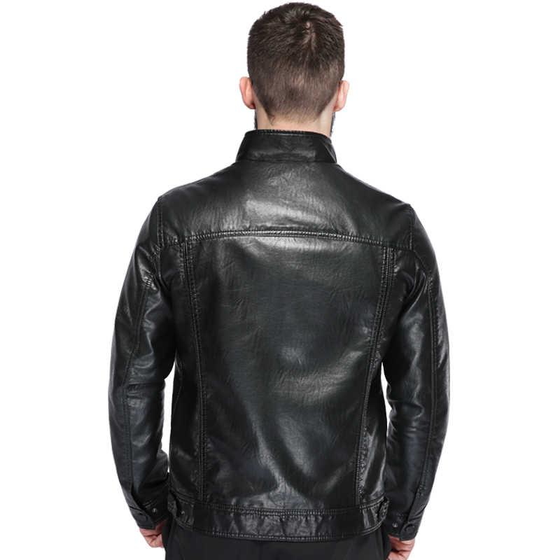2018 Luxury Fashion Men's Leather Jacket High Quality Leather Brown Men Jacket Faux Leather Men Jacket And Coat jaqueta de couro