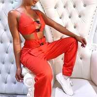 2Pcs Women Cami Cool Bra Button Hollow Out Tops Sleeveless Belt Cargo Pockets Long Pants Hip Hop Set