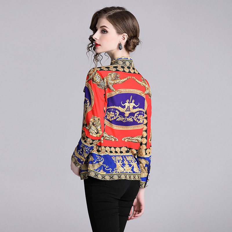 2018 New Designer Tops High Quality Runway Shirt Women Long Sleeve Shirts Fashion Printed Vintage Blouse Womens Tops And Blouses in Blouses amp Shirts from Women 39 s Clothing